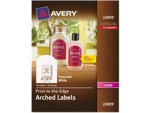 """Avery 22809 Promotional Label 3"""" Width x 2.25"""" Length - 1 / Pack - Arch - 9/Sheet - Laser - White"""