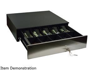 MMF ADV-C2 Advantage Electronic Cash Drawer, 18.8 x 21 x 4.6, 3 Slots, 5 Bill/5 Coin, Printer Driven RJ12, 24V DC, Stainless Front, Black  - ADV-113C21310-04