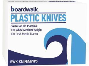 Boardwalk MWPPKN Mediumweight Polypropylene Cutlery, Knife, White, 1000 / Carton