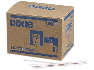 "Dixie HS551 5.50"" Plastic Stirrer, White / Red Stripe, 1000 Count"