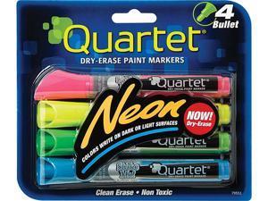 Quartet 79551-A Neon Dry Erase Marker Set, Broad Bullet Tip, Assorted Colors, 4/Set