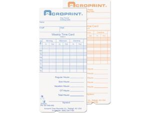 Acroprint 09-7000-000 Weekly Time Cards for ATR240 and ATR260
