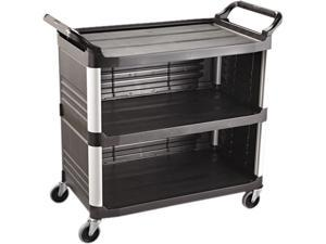 Rubbermaid Commercial RCP 4093 BLA Utility Cart With Enclosed End Panels On 3 Sides, Black