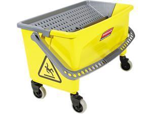 Rubbermaid Commercial Q90088 HYGEN Press Wring Bucket for Microfiber Flat Mops, Yellow