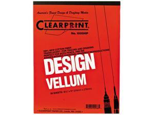 "ClearPrint 10001410 Design Vellum Paper, 16 lbs., White, 8.50"" x 11.00"", 50 Sheets/Pad"