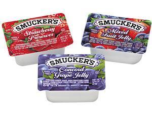 Smucker's 5150000774 Jam Assortment, Single Serving Packs, 1/2 oz, 200/Carton