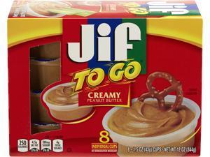 Jif 5150024136 Spreads, Creamy Peanut Butter, 1.5 oz. Cup, 8/Box