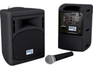 Oklahoma Sound PRA-8000-VA, Portable Pro Audio System Black With Handheld Wl Mic