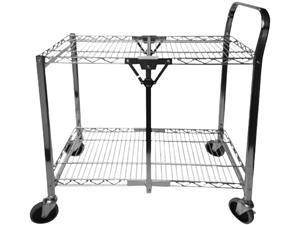 Bostitch BSAC-SM-CHROME Stowaway Folding Carts, 2 Shelves, 29.63w x 37.25d x 18h, Chrome, 250 lb Capacity