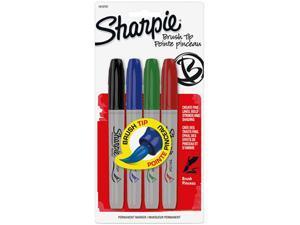 Sharpie 1810701, Permanent Marker, Brush Tip, Assorted, 4/Set