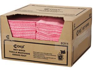 "Chix CHI 8311 Wet Wipes, 11 1/2"" x 24"", White/Pink"