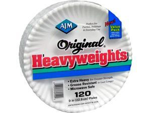 """AJM Packaging Corporation OH9AJBXWHCT Plates, Heavyweight Paper, 9"""", 960/CT, White"""