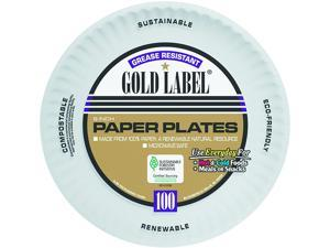 AJM Packaging Corporation AJM CP9GOAWH Coated Paper Plates, 9 Inches, White, Round, 100/Pack