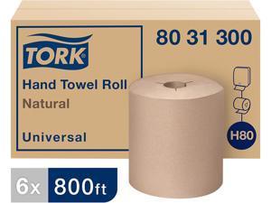 "Tork 8031300 Universal Hand Towel Roll, Notched, 8"" x 800 ft, Natural, 6 Rolls / Carton"