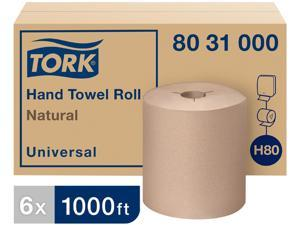 "Tork 8031000 Universal Hand Towel Roll, Notched, 8"" x 1000 ft, Natural, 6 Rolls / Carton"