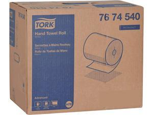 """Tork 7674540 Advanced Hand Towel Roll, Notched, 1-Ply, 7.5"""" x 11"""", White, 491 / Roll, 12 / Carton"""