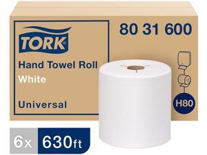 """Tork 8031600 Universal Hand Towel Roll, Notched, 7.5"""" x 630 ft, White, 6 Rolls / Carton"""