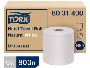 """Tork 8031400 Universal Hand Towel Roll, Notched, 8"""" x 800 ft, Natural White, 6 Rolls / Carton"""
