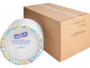 "Genuine Joe 10319CT Printed Paper Plates, 125 / Pack - 10"" Diameter Plate - Paper Plate - Disposable - Assorted - 500 Piece(s) / Carton"