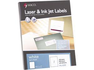 """Maco MML-0100 Laser/Inkjet Full-Sheet Identification Labels, Inkjet/Laser Printers, 8.50"""" x 11.00"""", White, 100/Box"""