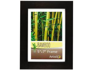 "Nudell 14157 5"" x 7"" Earth Friendly Bamboo Frames, 1 Each, Black, Clear Cover"
