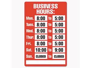 COSCO 098072 Business Hours Sign Kit,  8 x 12, Red
