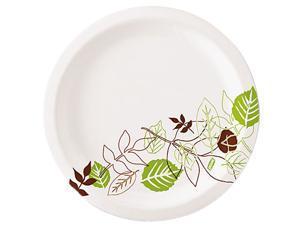 "Dixie UX7PATH Pathways Paper Plates, 6.875"", Green/Burgundy, 1000/Carton"