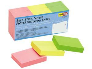 Redi-Tag 23701 Self-Stick Notes, 1 1/2 x 2, Neon, 12 100-Sheet Pads/Pack