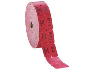 PM Company 59003 Consecutively Numbered Double Ticket Roll, Red, 2000 Tickets/Roll