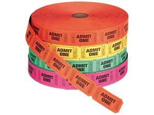 PM Company 59002 Admit One Single Ticket Roll, Numbered, Assorted, 2000 Tickets/Roll