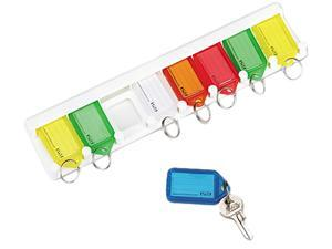 "SecurIT 04991 Color-Coded Key Tag Rack, 8-key, Plastic, White, 10 1/2"" x 1/4"" x 2 1/2"""