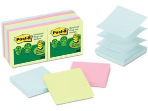 Post-it Greener Notes R330RP-12AP Recycled Pop-Up Notes Refill, 3 x 3, Pastel, 100 Sheets/Pad, 12 Pads/Pack