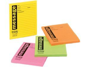 Post-it Super Sticky 7679-4-SS Super Sticky Message Pads, 3-7/8 x 4-7/8, Lined, Neon, 4 50-Sheet Pads/Pack