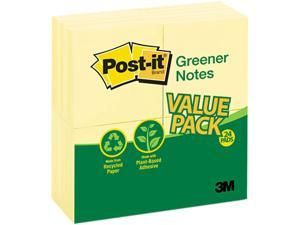 Post-it Greener Notes 654RP-24-YW Original Recycled Note Pads, 100 3 x 3 Sheets, Canary Yellow, 24 Pads/Pack
