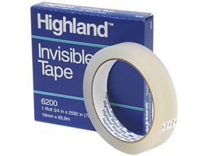 """Highland 6200-3/42592 Invisible Permanent Mending Tape, 3/4"""" x 2592"""", 3"""" Core, Clear"""