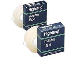 """Highland 6200-34-1000 Invisible Permanent Mending Tape, 3/4"""" x 1000"""", 1"""" Core, Clear, 6/Pack"""