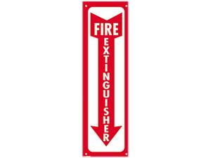 COSCO 098063 Glow-In-The-Dark Safety Sign, Fire Extinguisher, 4 x 13, Red