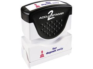 Accustamp2 035523 Accustamp2 Shutter Stamp with Microban, Red/Blue, FOR DEPOSIT ONLY, 1 5/8 x 1/2