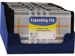 """C-line 58412 Expanding File, Plaid, Coupon, 13 pockets, 1.5"""" Exp., 1/EA"""