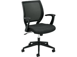HON VL521VA10 VL521 Mid-Back Work Chair, Mesh Back, Fabric Seat, Black