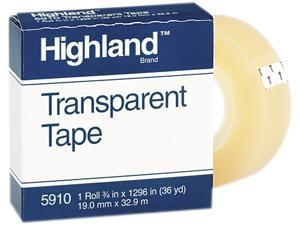 """Highland 5910-3/41296 Transparent Tape, 3/4"""" x 1296"""", 1"""" Core, Clear"""