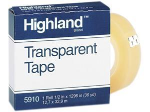 """Highland 5910-1/21296 Transparent Tape, 1/2"""" x 1296"""", 1"""" Core, Clear"""