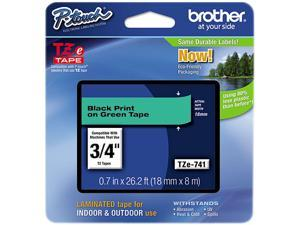 Brother TZE741 TZe Standard Adhesive Laminated Labeling Tape, Black on Green