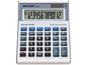 Victor 6500 Executive Desktop Loan Calculator, 12-Digit LCD, Black/Silver