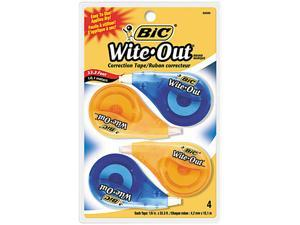 """BIC WOTAPP418 Wite-Out EZ Correct Correction Tape, Non-Refillable, 1/6"""" x 400"""", 4/Pack"""