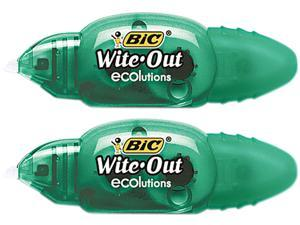"""BIC WOETP21 Wite-Out Ecolutions Mini Correction Tape, White, 1/5"""" x 235"""", 2/Pack"""
