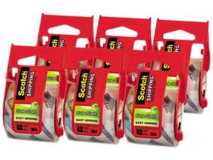 """Scotch 145-6 Sure Start Packaging Tape, 2"""" x 22.2 yards, 2"""" Core, Clear, 6/Pack"""