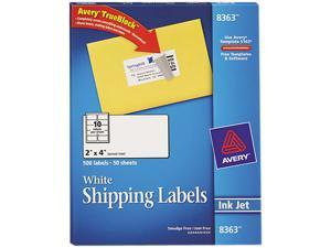 Avery 8363 Shipping Labels with TrueBlock Technology, 2 x 4, White, 500/Box