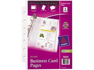 """Avery Business Card Pages, 7HP, 5-1/2""""x8-1/2"""", 8 Slot/Pg, 5/PK, CL 76025"""
