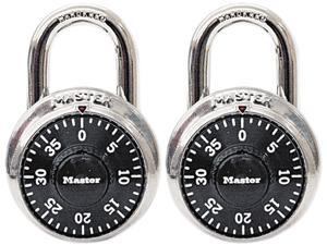 """Master Lock 1500T Combination Lock, Stainless Steel, 1-7/8"""" Wide, Black Dial, 2/Pack"""